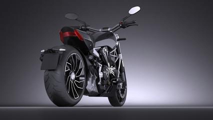 Black Motorbike on elegant dark background
