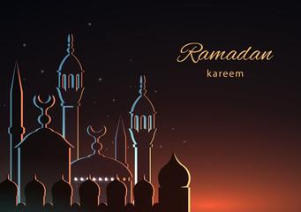 Ramadan background greeting card with mosque and text Ramadan Kareem. Vector illustration