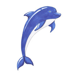 Dolphin Isolated on a White Background Hand Drawn Illustration