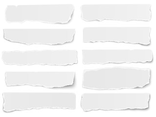 Set of elongated torn paper fragments isolated on white background