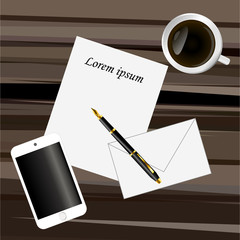 Paper, pen, smart phone and coffee on a dark brown