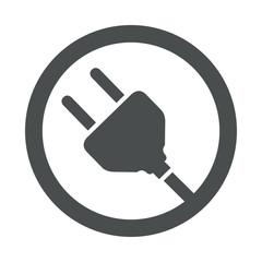 Icono plano clavija electrica en circulo color gris