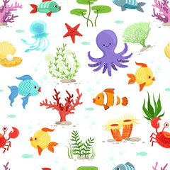 Funny underwater life with sea plants and fishes. Vector seamless pattern