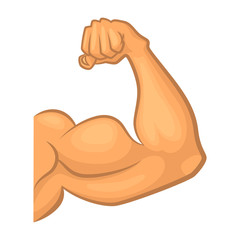 Strong biceps. Gym vector symbol isolate. Cartoon illustration
