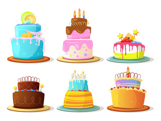 Cartoon cream cakes set isolate on white background. Vector illustrations
