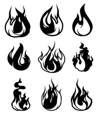 Monochrome symbols of flame. Vector black icons isolate on white