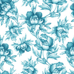 Vintage floral seamless grey-blue monochrome pattern with flowering peonies, on white background. Watercolor hand drawn painting illustration. Isolated. Design for fabric, wrap paper or wallpaper.