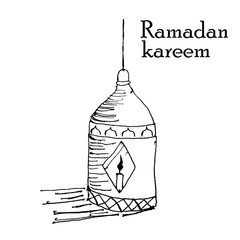Illustration of lighting in ramadan, hand draw