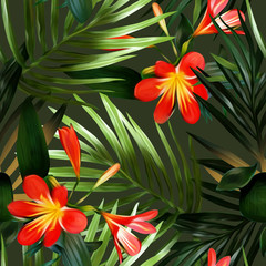 Seamless pattern with exotic flowers. Artistic background.
