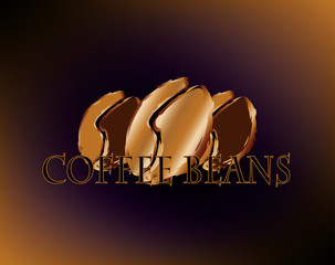 Golden roasted coffee beans