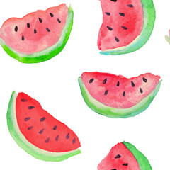 Seamless pattern with watercolor slices of watermelon on white background
