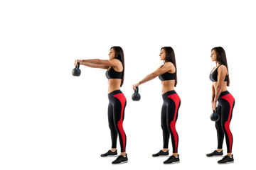 Slender brunette woman doing exhalation with weight on biceps on white isolated background, view from left side, stage exercises on biceps