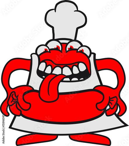 hunger grillen chef koch essen wurst w rstchen sch rze viele augen maul fressen s niedlich. Black Bedroom Furniture Sets. Home Design Ideas