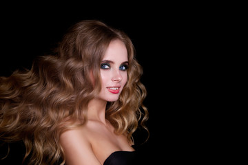 Beauty Fashion Model Woman , portrait,  hairstyle with creative hair-dress, curls waves. Concept Girl face with perfect skin in dark Background