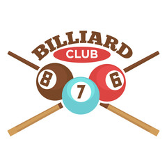 Billiard club vector label template of crossed pool cues and balls