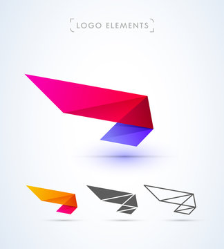 Abstract aircraft wing logo design. Material design style.