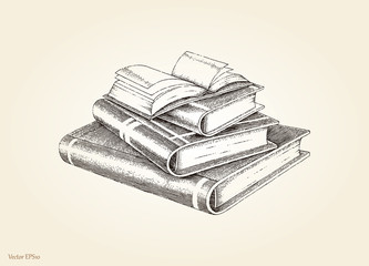 Books stack hand drawing vintage style