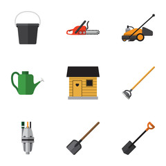 Flat Farm Set Of Stabling, Tool, Pail And Other Vector Objects. Also Includes Pail, Tool, Blade Elements.