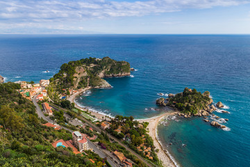 Taormina, Sicily - Beautiful landscape view of Mazzaró and Isola Bella Sicilian island of the mediterranean with beach and turquoise sea water