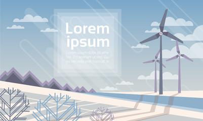 Wind Turbine Tower In Winter Snow Field Alternative Energy Source Technology Flat Vector Illustration