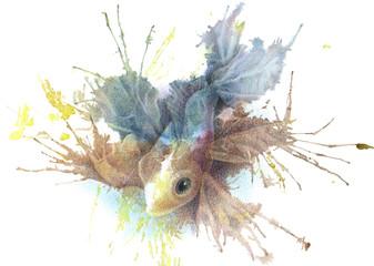 Плывущая сказочная рыба. Иллюстрация, выполненная по акварельному пятну цветными карандашами.