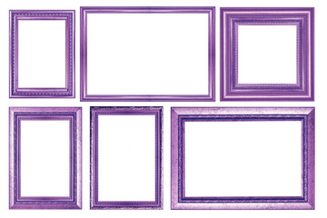 collection of vintage purple picture frame, isolated on white