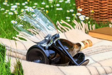 beautiful glasses on long legs and a bottle of champagne lying on the blanket on the background of flowering meadows