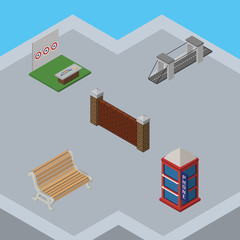 Fototapeten Flugzeuge, Ballons Isometric City Set Of Barrier, Highway, Seat And Other Vector Objects. Also Includes Wall, Telephone, Seat Elements.