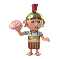 3d Funny cartoon Roman soldier in armour character holds a human brain