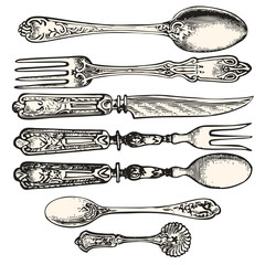Vector Antique Cutlery