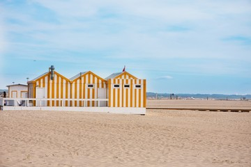 Colorful house on the beach. Portugal. Figueira da Foz