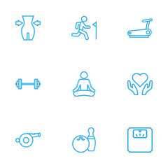 Set Of 9 Training Outline Icons Set.Collection Of Scales, Whistle, Health Care And Other Elements.