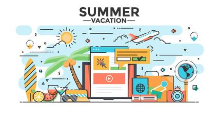 Flat Line Design Hero Image - Summer Vacation concept