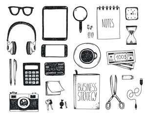 Vector set of hand drawn office tools. Freelance, tools for making business online, entrepreneur. Mock up, top view.