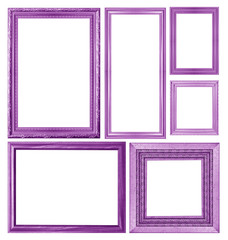 set of purple picture frame isolated on white background