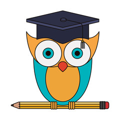 colorful image of owl knowledge with cap graduation on pencil vector illustration