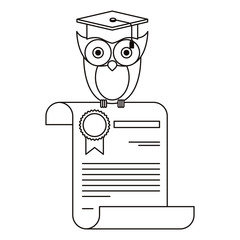 sketch silhouette owl knowledge in certificate vector illustration