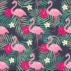 Tropical trendy seamless pattern with pink flamingo, pineapples, tropical leafs. Beach background. Tropical paradise
