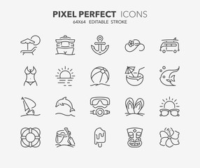 summer thin line icons 2