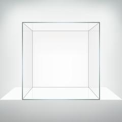 Glass vector showcase. Square empty glass box on white podium.