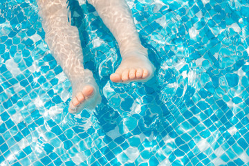 Closeup of kid in swimming pool