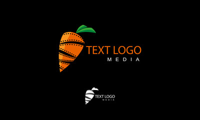 orange carrot and movie roll symbol for cinema producer and videographer logo template
