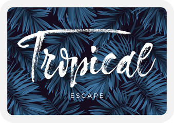 Indigo blue postcard with monstera palm leaves on dark background. Summer tropical design.