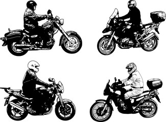 Wall Mural - four sketch motorcyclists illustration - vector