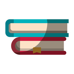realistic colorful shading image of collection of books with bookmark vector illustration