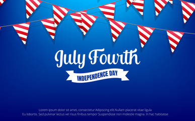 July Fourth. 4th of July holiday banner. USA Independence Day banner for sale, discount, advertisement, web etc.