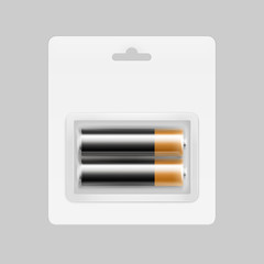 Vector Black Golden Glossy Alkaline AA Batteries in Transparent Blister Packed for branding Close up Isolated on Background