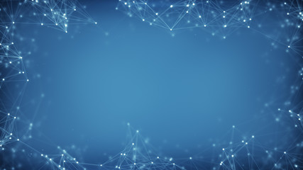 Blue frame of sci-fi network shape