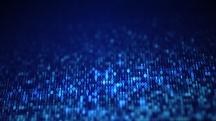 Blue digital binary data code on screen
