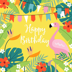 Happy Birthday greeting card, invitation with hand drawn palm leaves, hibiscus flowers, flamingo bird and party flags. Tropical jungle design. Vector illustration background.